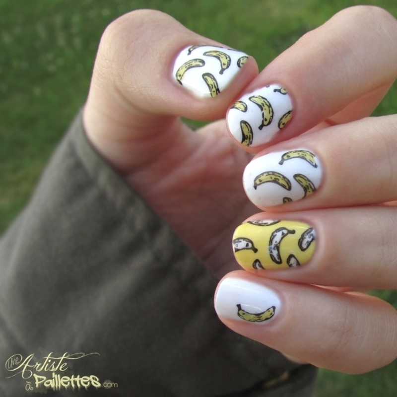 Banana nail art by Estelle Heart