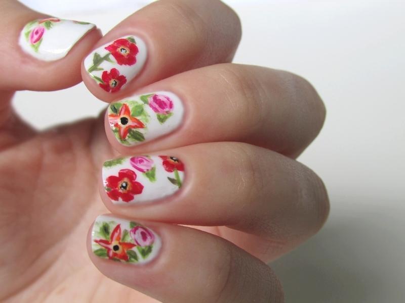 Tropical Flowers nail art by Estelle Heart