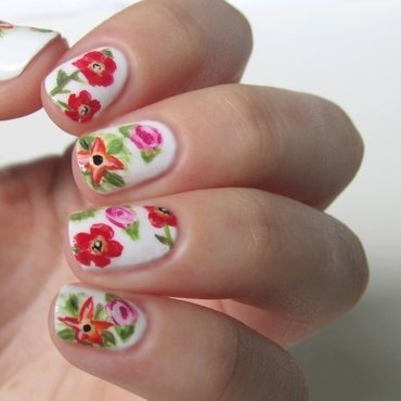 Tropical Flowers nail art by Estelle Heart