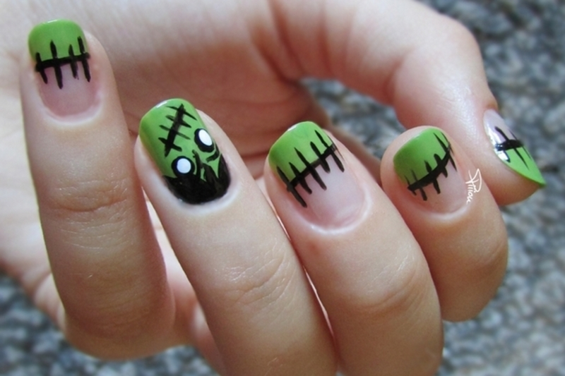 Frankenstein Nails nail art by Estelle Heart