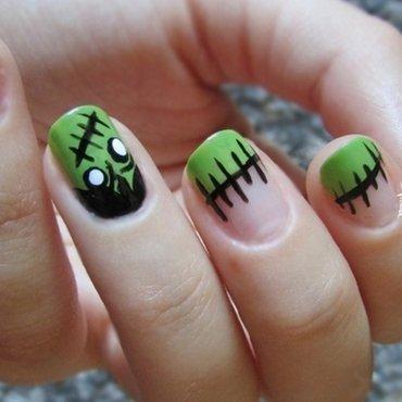 Frankenstein Nails nail art by Estelle Heart