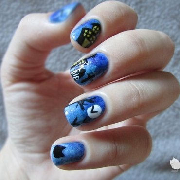Cemetery for Halloween nail art by Estelle Heart