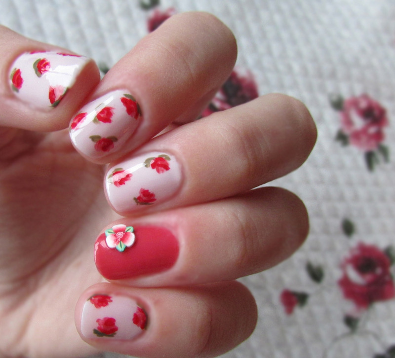Roses nail art by Estelle Heart