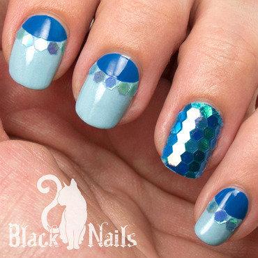 Winter Glitter Blues nail art by Black Cat Nails