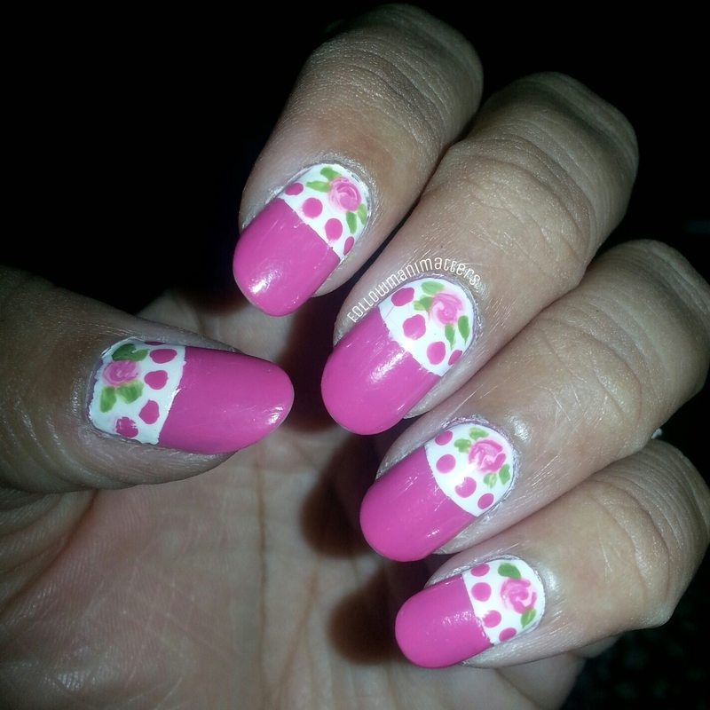 Halfmoon with roses nail art by Manisha Manimatters