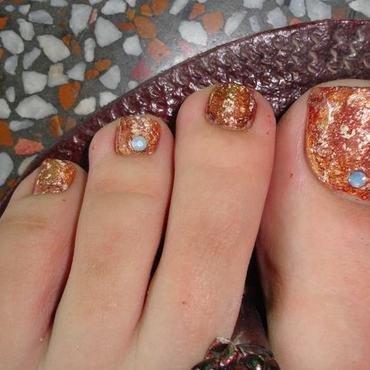 Fall Toe Nail Art - Marbling nail art by Leneha Junsu