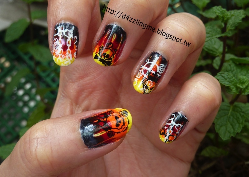 Fire Skull Nail nail art by D4zzling Me