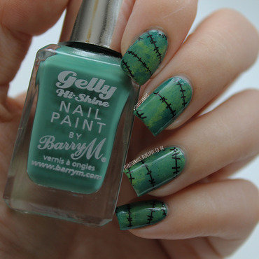 Frankenstein's Monster nail art by Lisa Yabsley
