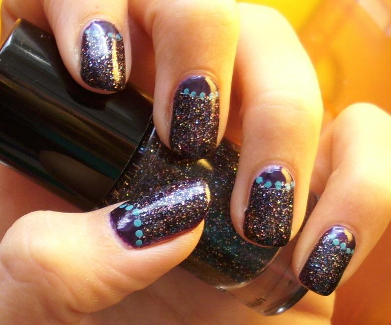 glitter half moon nail art by irma