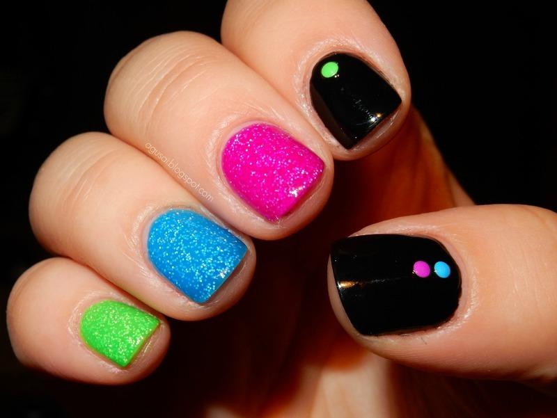 Black & neon nail art by Agni