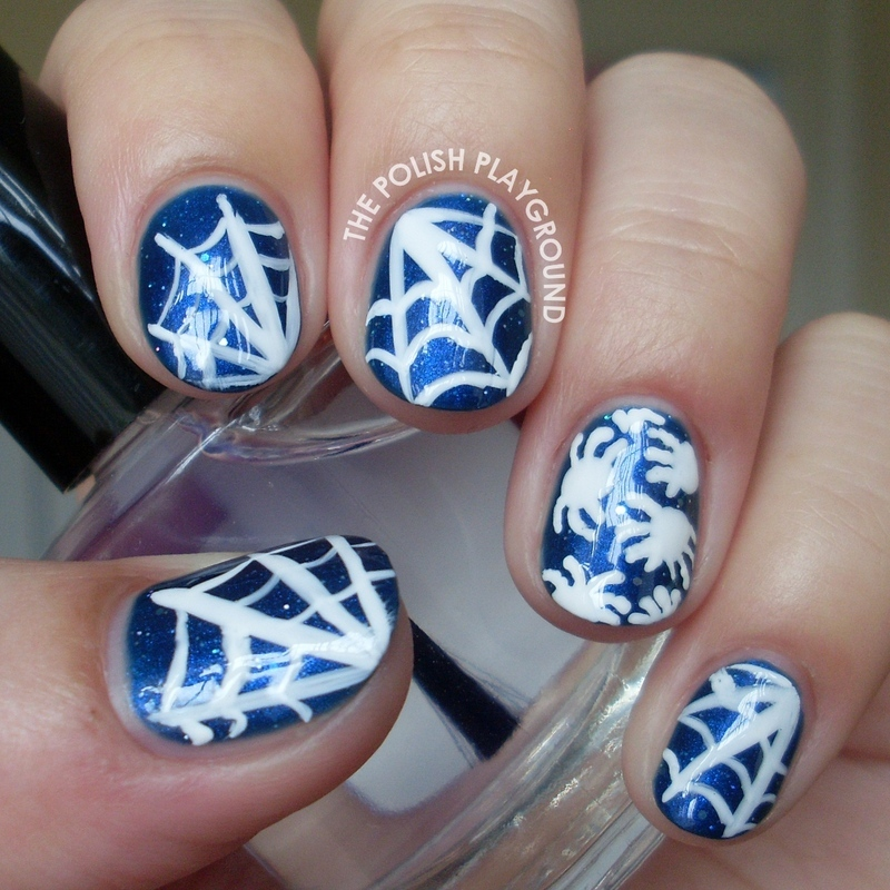 Spiders and Cobwebs Nail Art nail art by Lisa N