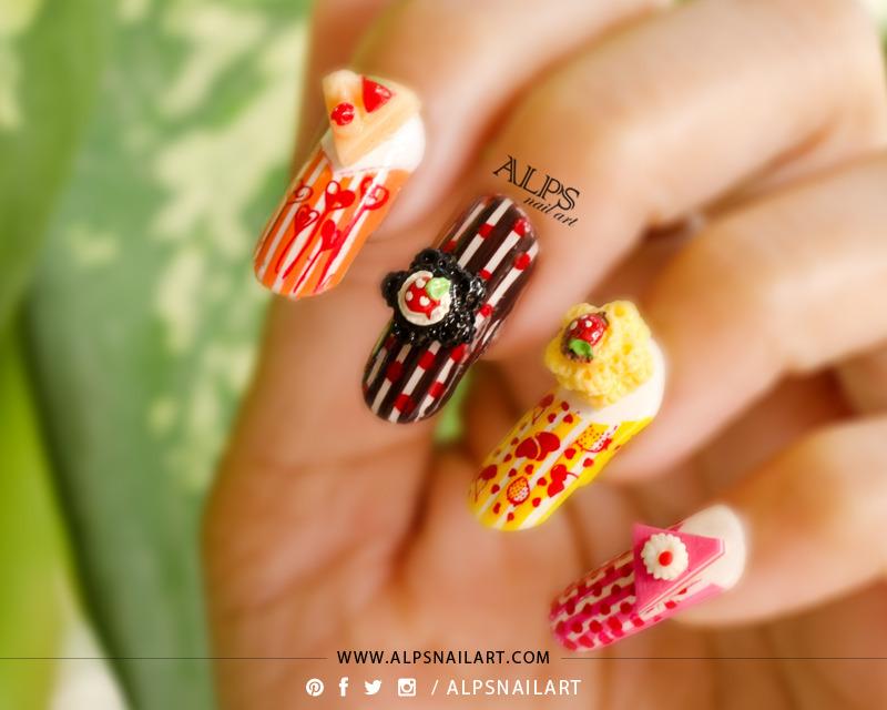 Birthday Nails with 3D cake Charm @alpsnailart nail art by Alpsnailart