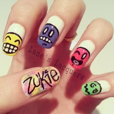 Zukie Art Inspired Manicure nail art by Rebecca