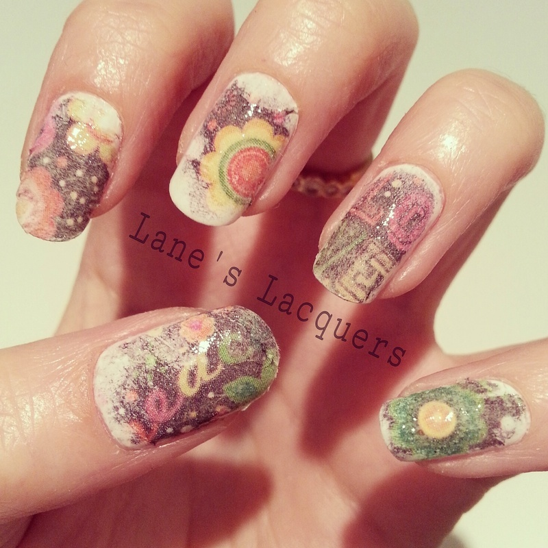 60s paper print nail art by rebecca nailpolis museum of nail art 60s paper print nail art by rebecca prinsesfo Image collections