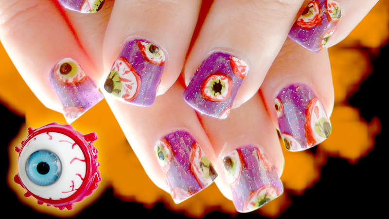 Bloody Eyeball Halloween Scary Nail Art nail art by madjennsy Nail Art