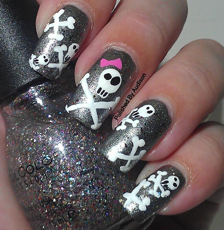 Skull & Crossbone Nail Art nail art by Ashley Hoopes