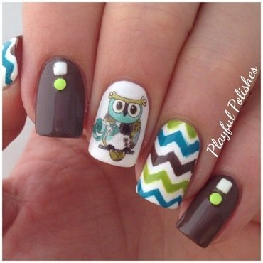 Owl Nail Art nail art by Playful Polishes