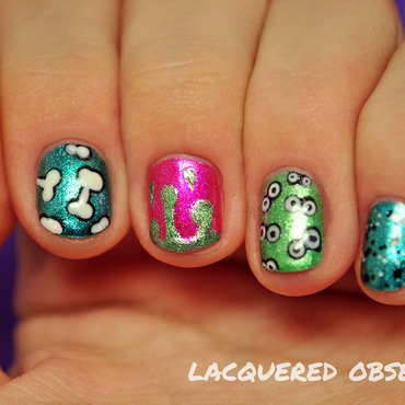 Funky scary Halloween-y nail art by Lacquered Obsession