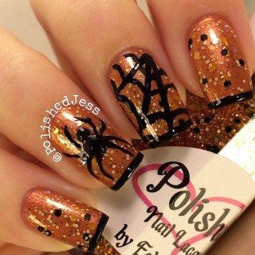 Spider! nail art by PolishedJess