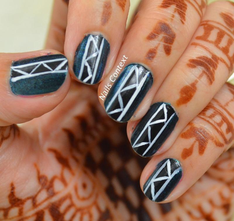 Blues and Grays nail art by NailsContext