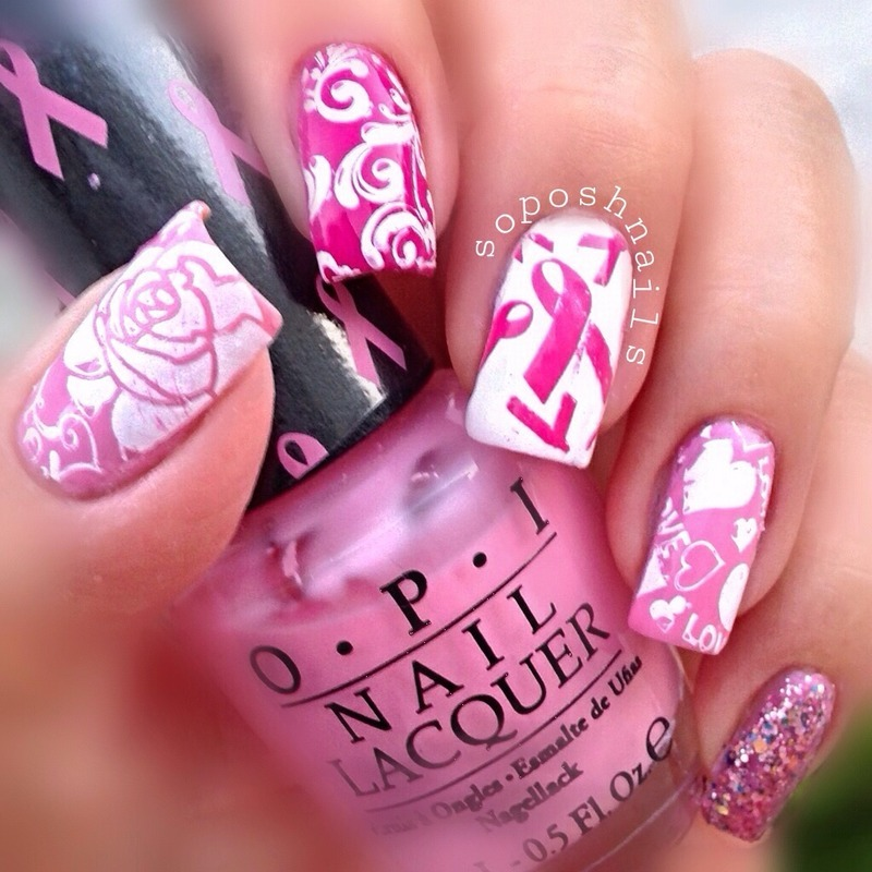 Pink Ribbon Nails nail art by Debbie - Nailpolis: Museum of Nail Art