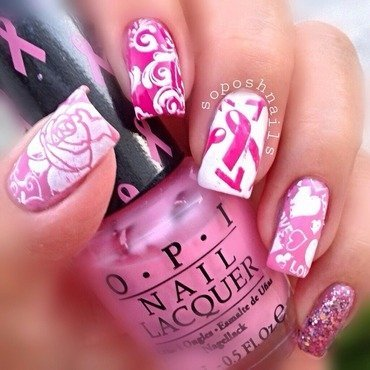 Pink Ribbon Nails nail art by Debbie