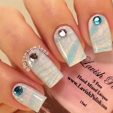 PAIL Awareness Watermarble nail art by PolishedJess