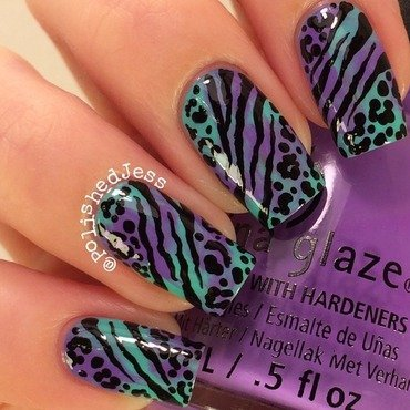 Animal Print Over Marble nail art by PolishedJess