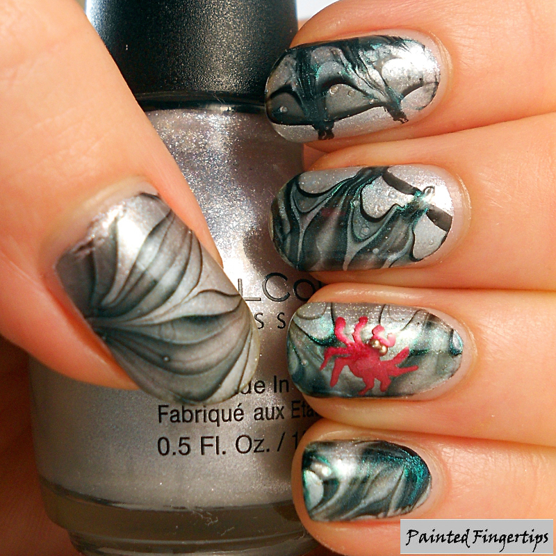 Spiderweb Water Marble nail art by Kerry_Fingertips