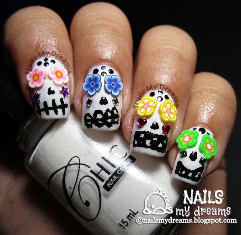 3D Sugar Skulls Nail Art nail art by Kat of NailsMyDreams