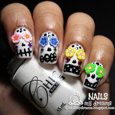 3D Sugar Skulls Nail Art nail art by Kat of NailsMyDreams