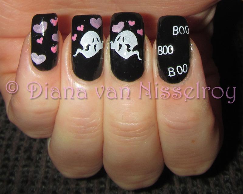 Ghosts in love nail art by Diana van Nisselroy
