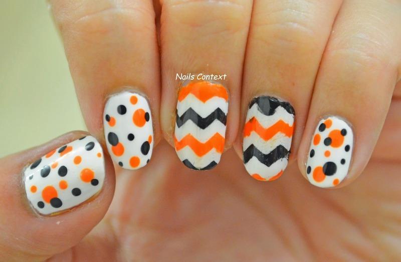 Halloween Chevron nail art by NailsContext