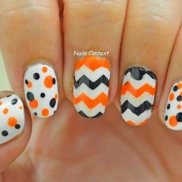 Halloween Chevron nail art by NailsContext