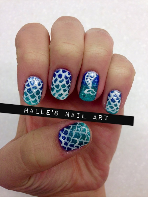 Mer-mani nail art by Halle Butler