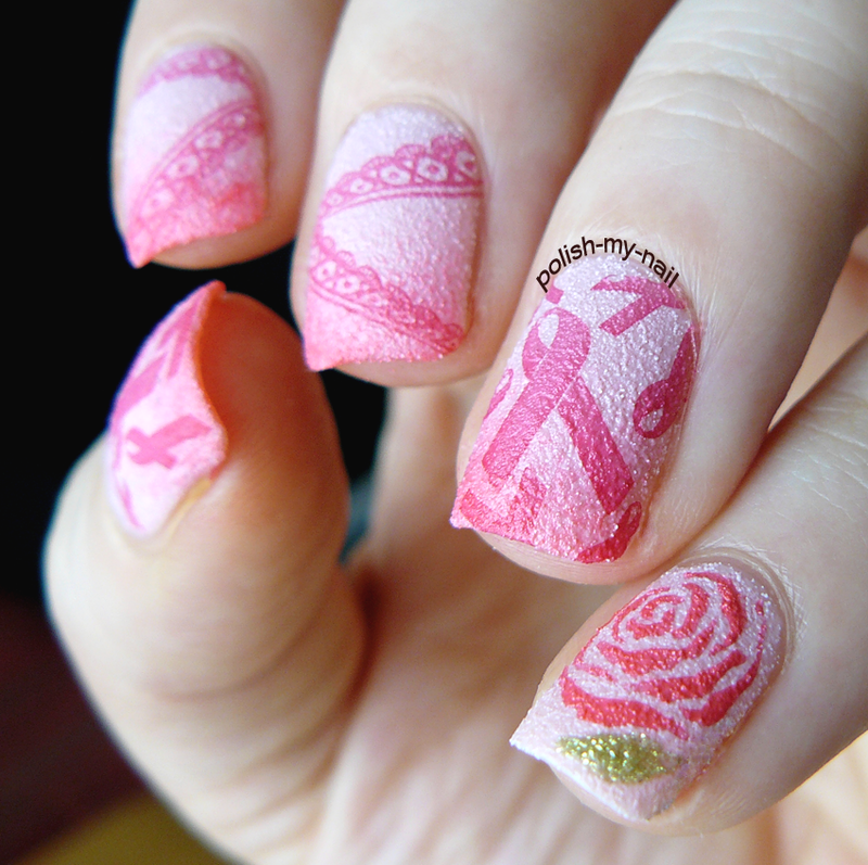 Pink October I nail art by Ewlyn