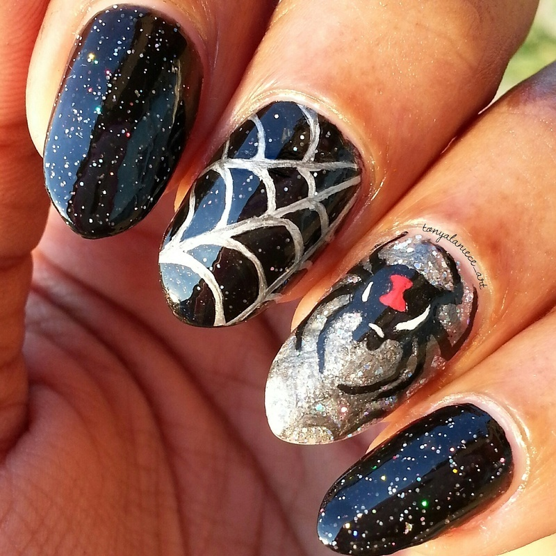Holo Black Widow nail art by Tonya