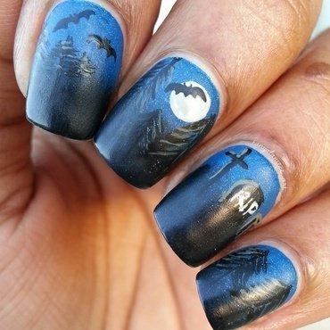Spooky Moonlit Cemetery nail art by Tonya