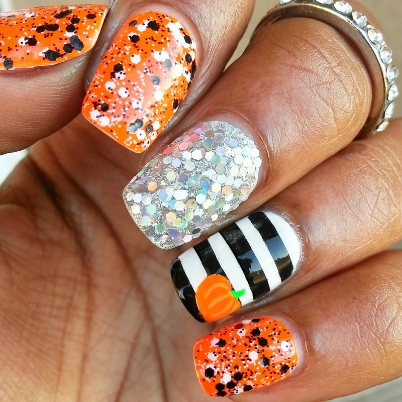 Halloween Spirit 🎃 nail art by Tonya