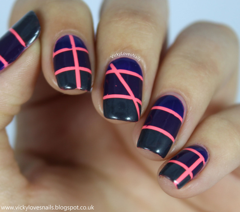 Pop of Pink Colour Block Nails nail art by Vicky Standage