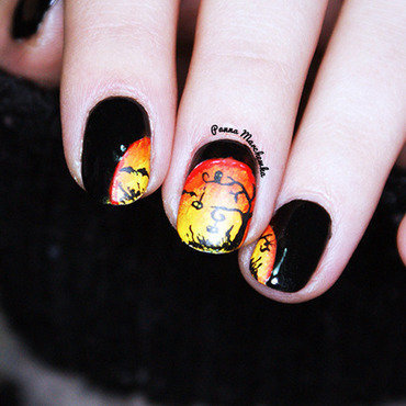 Scary forest nail art by Panna Marchewka