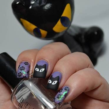 Black Cats nail art by Lackliebe
