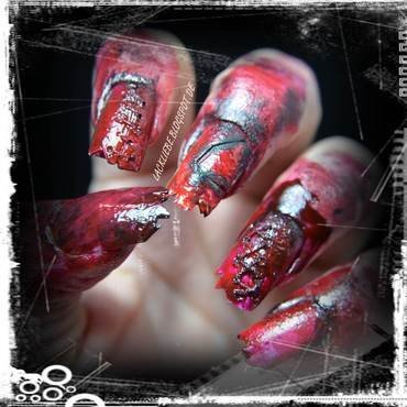 Ripped Zombie Nails nail art by Lackliebe