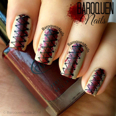Stitches nail art by BaroquenNails