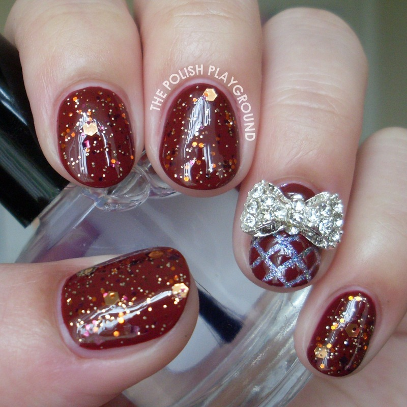 Glittery Fall Inspired Nails with Bow Stud nail art by Lisa N ...