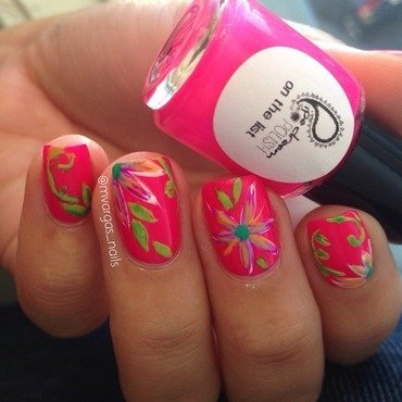 Tropical flawers nail art by Massiel Pena