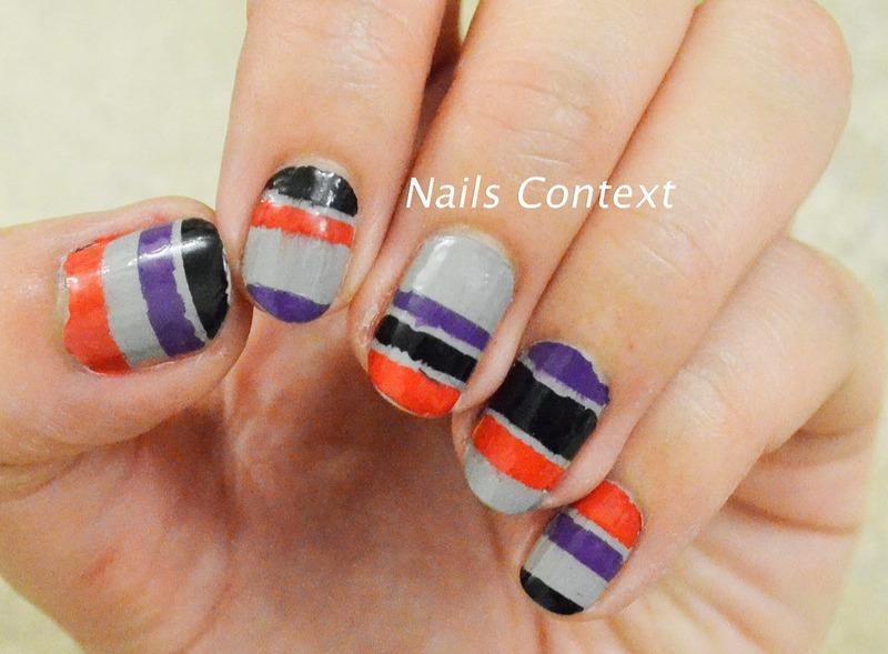 Halloween Colorblocking nail art by NailsContext