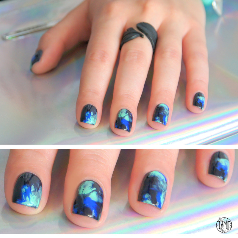 Dry marble smoke nails nail art by Paulina