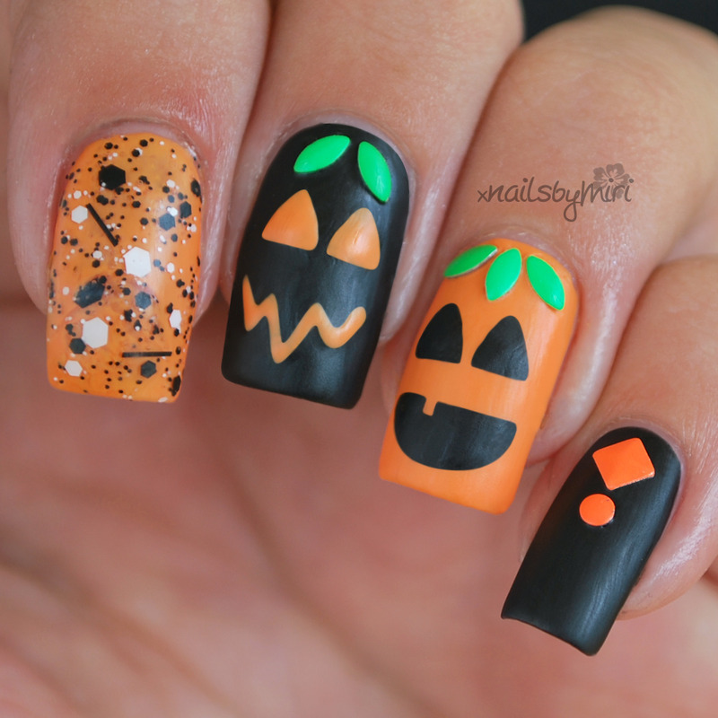 Halloween Pumpkin Nails nail art by xNailsByMiri ...