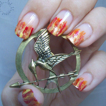 Catching fire nail art by Barbara P.